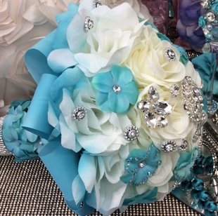 Beautiful Blue and White Quinceañera Bouquet