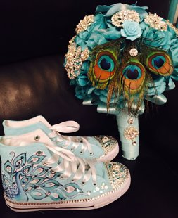 Quinceañera Shoes Peacock Theme