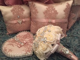 Dusty rose/ivory Quinceanera pillows, signing book, bouquet!