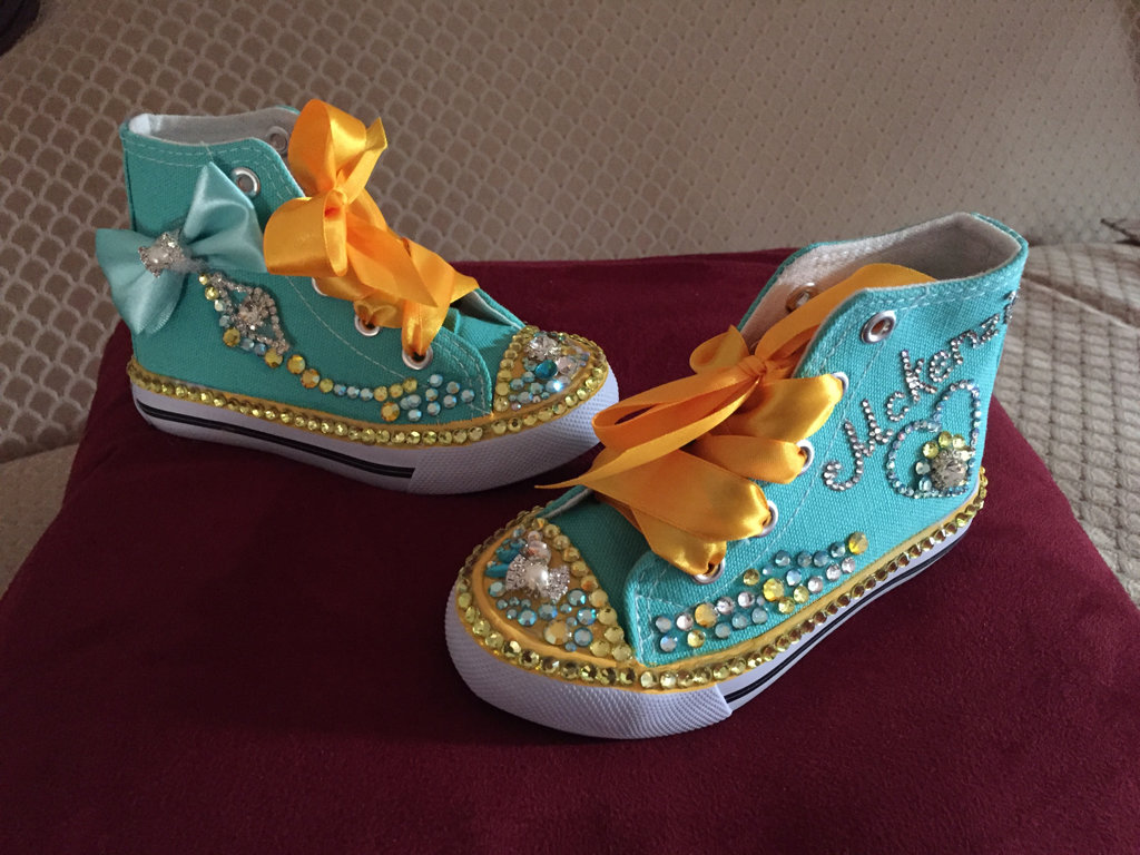Personalized Quinceañera Shoes with beautiful crystals