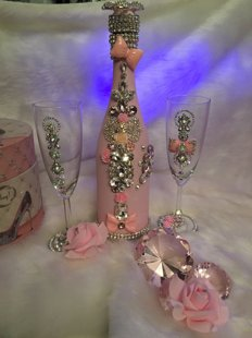 Quinceanera Bottle and Glass
