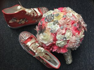 Quinceañera Bouquet with matching canvas quinceañera shoes